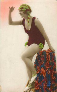 Pinup bathing suit lovely woman tinted postcard circa 1926
