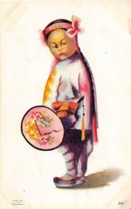 <A10> FOREIGN Postcard JAPAN China? White City Art Asian Child 1