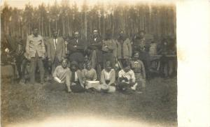 Real Photo Postcard~Ladies, Sit in Front, Men Stand Behind~All Before Trees~1918