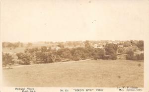 Rudd Iowa~Birdseye View~Town & Homes Beyond the Road & Trees~c1912 Haight RPPC