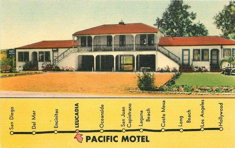 Leucadia California Pacific Motel roadside Postcard Singleton linen 4818