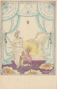 ART DECO ; Female wearing white gown in her bedroom, 1910-20s