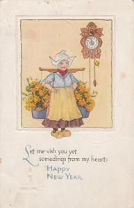 Dutch girl carrying flowers wishing HAPPY NEW YEAR, 00-10s