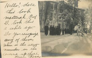 Epworth-Dubuque IA Does This Look Natural?~Prof Snaps*~Snowy Students~RPPC 1906