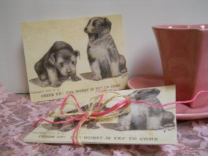 Set of 6 Standard Postcards -Cute Puppies Handmade Vintage Postcard Reproduction