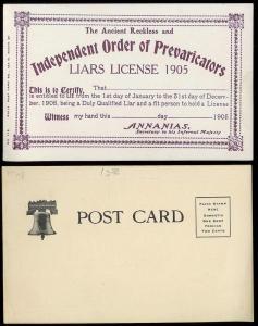 'Liars license' pre1907 unused