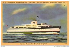 Ferry Boat SS Pocahontas Little Creek & Kiptopeke Beach Virginia , 30-40s