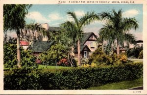 Florida Miami Coconut Grove A Lovely Residence 1933 Curteich