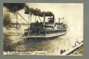 St. Louis MISSOURI RP 1909 STEAMBOAT City of Providences U.S. GUNBOAT HUNTRESS