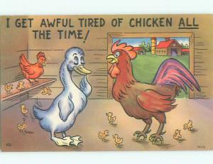 Unused Pre-Chrome comic ROOSTER GETS TIRED OF CHICKEN ALL THE TIME J3741