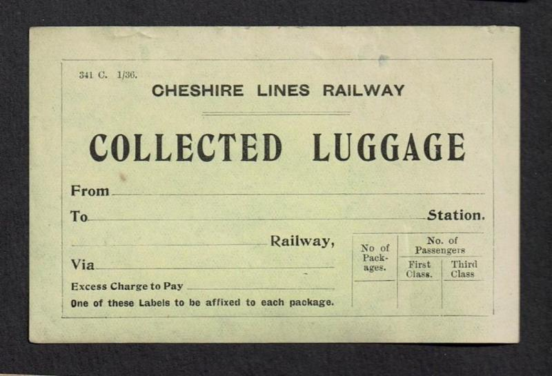 Railway Label CLC Collected Luggage Cheshire Lines with Gum
