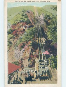 W-border INCLINE RAILROAD TRAIN Mount Lowe - Pasadena - Los Angeles CA AD7002