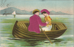 Young Lovers in Rowboat Sailboat in Background Clothes are Satin Fabric Vintage