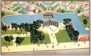 1939 New York World's Fair Postcard Business Systems Building Linen Unused