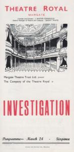 Investigation MacGregor Urquhart Rare Theatre Royal Margate Kent Programme