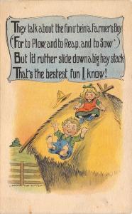 Farmers Boy Fun: To Plow Reap Sow~Kids Slide Down Haystack~Bestest Fun!~1917