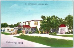 Kerrville, Texas Postcard DEL NORTE COURTS Motel Highway 27 Roadside Linen