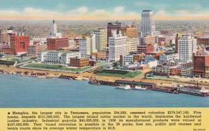 Tennessee Memphis Skyline Along Riverfront 1945 Curteich