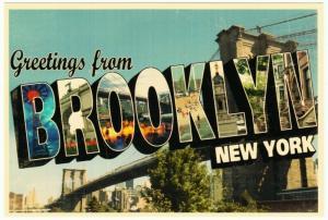 Greetings from Brooklyn New York Bridge Large Letter Chrome Postcard 2000s #1