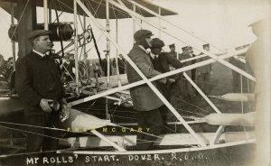 1910 Dover England RPPC: Aviator Rolls Close-Up, Starts Record Channel Flight