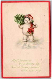 Snowman Snow Baby Carrying Christmas Tree Stocking Cap c1915 Vtg Postcard M10
