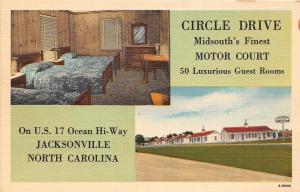 B60/ Jacksonville North Carolina NC Postcard Linen Circle Drive Motor Court