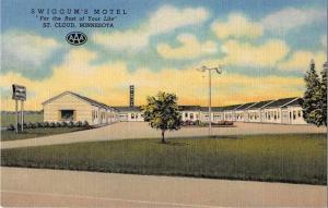 St Cloud Minnesota birds eye view Swiggum's Motel linen antique pc Z21793