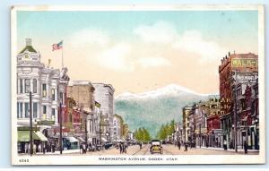 *Washington Avenue Street View Town View Ogden Utah Vintage Postcard B52