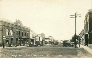 c1915 Rock Valley Sioux Iowa Main Street View Auto Garage Co-Mo RPPC Postcard