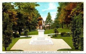 Pennsylvania Easton General Marquis De Lafayette Viewing The Campus Lafayette...