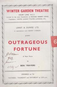 Outrageous Fortunes Ben Travers Comedy London Drury Lane Theatre Programme