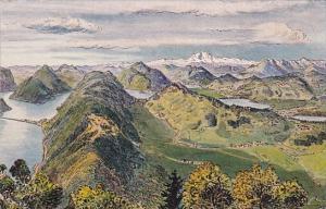 Switzerland Panorama del S Salvatore Ponte Melide und Monte Rosa