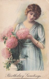 BIRTHDAY, PU-1920; Greetings, Young Lady and Pink Chrysanthemums
