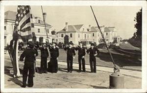 Newport RI? Navy Sailors Color Guard Raising Flag c1915 Real Photo Postcard