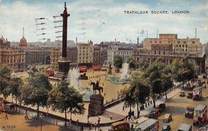 London Trafalgar Square Memorial Statue Fountains Auto Busses Vintage Cars 1956
