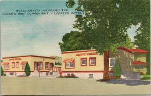 Motel Crystal Logan Utah UT Unused Vintage Linen Postcard D37