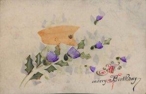 Birthday Flowers Celluloid novelty postcard