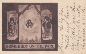 Bears on telephones , Cupid bear cub on wires , PU-1909