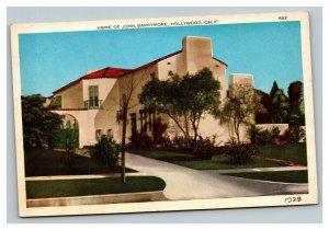 Vintage 1910's Postcard Home of John Barrymore Hollywood California