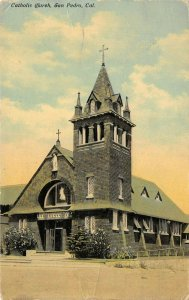 San Pedro California 1918 Postcard Catholic Church