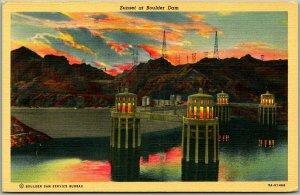 1940s BOULDER DAM Arizona Nevada Postcard Sunset Scene / Intake Towers Linen