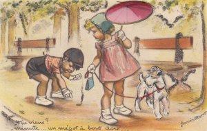 Children , Attached Dog & umbrella , 1920-30s