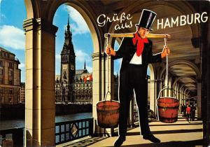 Gruesse aus Hamburg Hummel Hummel und Alsterarkaden mit Rathaus Town Hall
