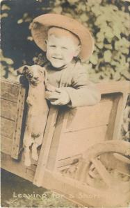 Red Headed Lil Boy & Puppy in Cart~Floppy Hat~Hand Colored~1915 Real Photo~RPPC