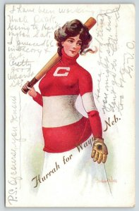 Wayne Nebraska Greetings~Lovely Lady Chicago Baseball Player~Bernhardt Wall~1908