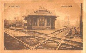 Creston OH Union Railroad Station Train Depot Postcard