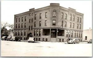 LUVERNE, Minnesota Real Photo RPPC Postcard MANITOU HOTEL Street View Dated 1949