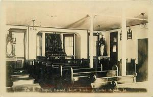 Academy Chapel Sacred Heart C-1910 RPPC Photo Postcard Cedar Rapids Iowa 1329