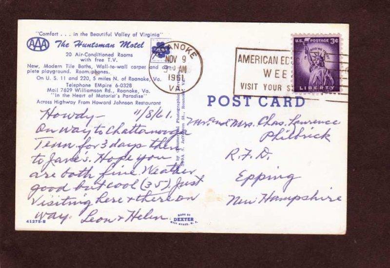 VA The Huntsman Motel Roanoke Virginia Postcard