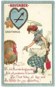 Thanksgiving Tuck Dwig Sagittarius Turkey Poem Valentine Postcard